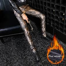 2018 korean fashion mens streetwear thick warm winter leggings feather print leather pants men fashion warm