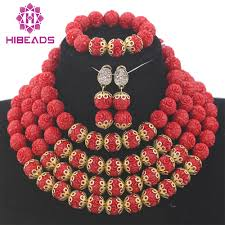 New Bead Designs Us 63 92 41 Off Trendy Beads 2017 Christmas Gift Fashion Red Necklace Sets For Women Chunky Beaded Party Jewellery Set New Free Shippingabh211 In