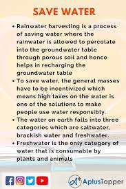 10 lines on save water for students and