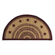 primitive rugs burdy tan jute stars stenciled red half circle rug