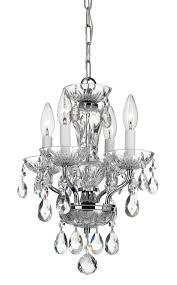crystorama traditional crystal 4 light chrome mini chandelier