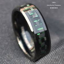 Qalo Men S Ring Size Chart 8mm Mens Tungsten Ring With Black And Green Carbon Fiber Wedding Band Jewelry