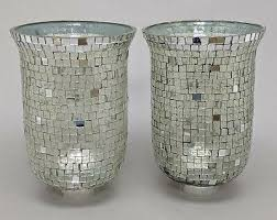 mirror mosaic glass hurricane shade pair for candle holders 6 dia x 10 tall