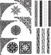 Arabic decor on white corners and dividers Stock Vector - 12496010