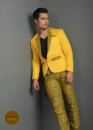 Basket Blazer Design Yellow Blazer And Checked Pant Set