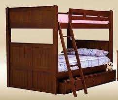 queen bunk bed with trundle.  With Dark Pecan Finish  Shown With Under Bed Trundle With Queen Bunk I