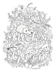 Small Picture Coloring Page The swearing words Zero fuks to give Doodles 2