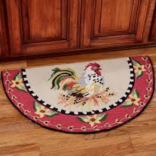 Rooster Rugs For Kitchen Sitting Pretty Rooster Hooked Slice Rug