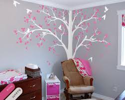 baby bedroom home art decor cute huge tree with falling leaves and birds wall sticker vinyl nursery room decorative mural y 949 in wall stickers from home  on nursery wall art tree decal with baby bedroom home art decor cute huge tree with falling leaves and