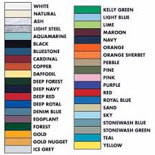 Fruit Of The Loom Color Chart 2017 Hanes Color Chart Specialty Cap