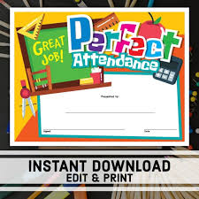 Perfect Attendance Certificate Instant Download Printable Award Editable Certificate Templates School Certificates Student Award