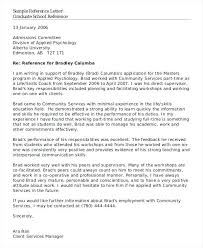 Letter Of Recommendation Graduate School Template Atlasapp Co