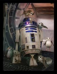 star wars episode viii framed poster r2 d2 porgs 45 x 33 cm