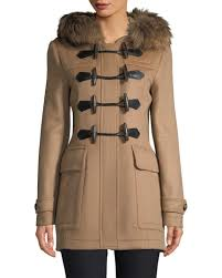 preview with zoom burberry burberry blackwell fur trim wool duffle coat