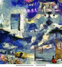 complex abstract painting open door to another world hourglass bed and violin open painting41 painting