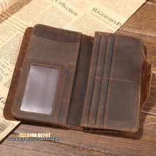 whole men s classical vintage leather wallet raw natural genuine leather purse for men card wallet with scrach