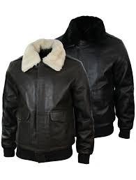 mens real fur collar leather er pilot flying jacket black brown truclothing com