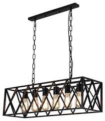 vintage industrial 6 light edison retro rustic wrought iron black chandelier