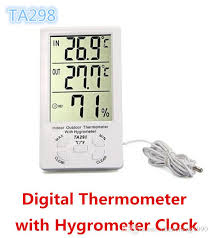 2019 whole ktj ta298 ta 298 indoor outdoor digital lcd thermometer with hygrometer humidometer clock white color from chencheng1990 4 53 dhgate