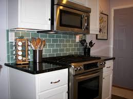 sage green 3x6 subway glass tile transitional kitchen