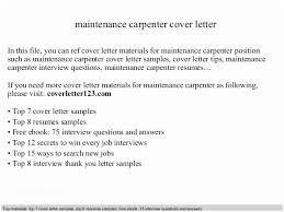 Carpenter Cover Letter Sample Maintenance Carpenter Cover Letter