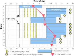 shift work schedules figure 1 sleep and light schedule for night shift work that we
