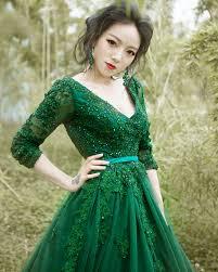 2016 luxury green wedding dress long sleeve backless v neck ball