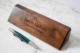 personalized wooden desk name customized walnut desk name executive personalized desk name plate wooden office sign