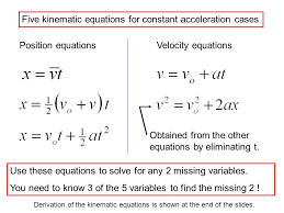 five kinematic equations for constant acceleration cases