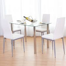 breakfast furniture sets. Costway 5 Piece Dining Set Table And 4 Chairs Glass Metal Kitchen Breakfast Furniture - Free Shipping Today Overstock 22713752 Sets U