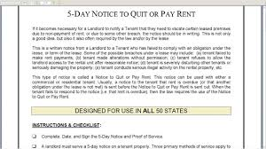5 day eviction notice illinois form 5 day notice to quit or pay rent landlord to tenant youtube