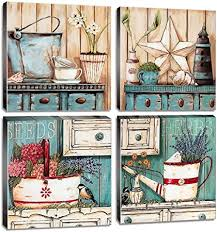 Buy top selling products like bee & willow™ home iron wall vase with faux flowers and family name long barnwood framed wall art. Amazon Com Country Decor Rustic Farmhouse Wall Art Bathroom Pictures Kitchen Canvas Prints 12x12 Inch 4pcs Blue And Cream Ocean Watercolor Retro Yard Art Style Flower Painting Bedroom Living Room Home Decoration Everything