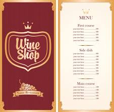 Free Wine List Template Download Download Wine Menu List Template Vector Material 01 Free Top