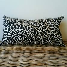 white lumbar pillow cover black