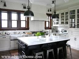 Black White Kitchen Design And Glass Door Cabinet With Modern Lighting