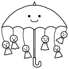 傘とてるてる坊主白黒梅雨6月の無料イラスト夏の季節行事素材