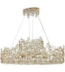 fredrick ramond fr44818slf anya 10 light 40 inch silver leaf linear chandelier ceiling light
