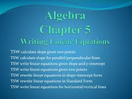 algebra chapter 5 writing linear equations n