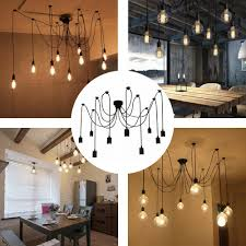 details about 9 arms e27 ceiling spider pendant lamp light antique diy dining hall home k8v5