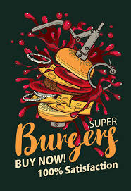 Vector Banner With Super <b>Burger In Retro Style</b> Stock Illustration ...