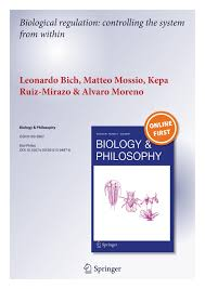 new paper published in biology philosophy bich l mossio m front page page 001