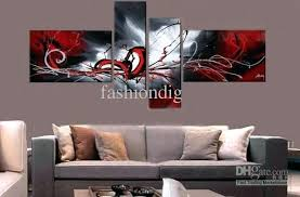 wall art for home office. Red Wall Art Decor Stretched Grey Contemporary Abstract Oil Painting On Canvas Artwork Handmade Home Office Hotel Decoration Gift Free For O