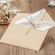 Rustic White Lace Detailed Wedding Invitations With Suede Ribbon Lc011 Amaze Paperie