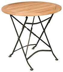 hiteak furniture teak bistro round table with iron legs industrial indoor pub and bistro tables by ere