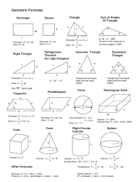 Geometry Formula Worksheet Worksheets for all | Download and Share ...