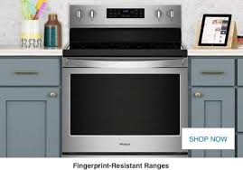 ranges at lowe s induction electric and gas ranges a fingerprint resistant stainless steel range a black cooktop