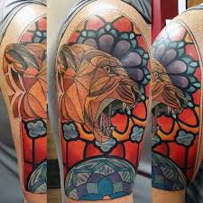 jungle cat stained glass mens half sleeve