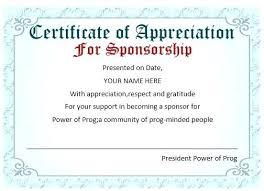 Appreciation Certificates Wording Classy Leadership Conference Scholarship Sponsor Recognition Wording