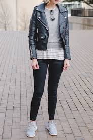 casual leather jacket outfit idea how to wear