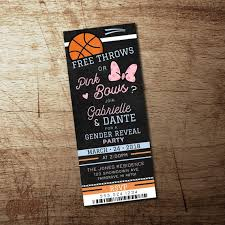 Basketball Gender Reveal Invitation Free Throws Or Pink Bows Etsy